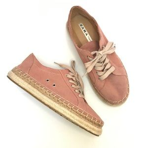 Zara Split Suede Espadrille Sneakers Bluchers Pink